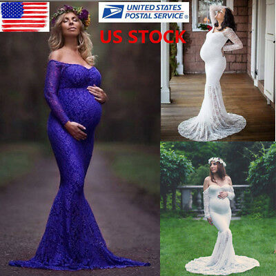 US Pregnant Womens Lace Off Shoulder Long Maxi Maternity Dress Photography Props