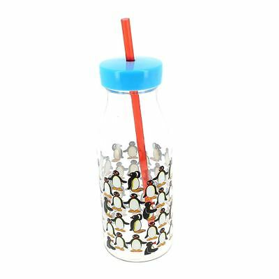 Officially Licensed Pingu Transparent Bottle with Red Straw