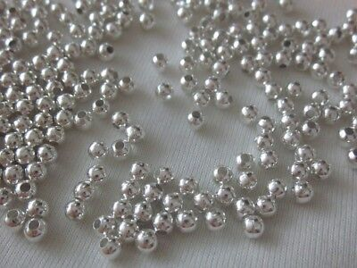 100 Silver Coloured 4mm Round Spacer Beads #sp3337