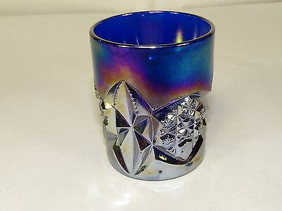 Cobalt Blue Joe ST.Clair Glass Toothpick Holder,Diamond Tumbler Pressed #144