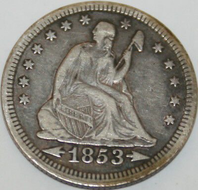 1853-P Seated Liberty Quarter Arrows and Rays [SN04]