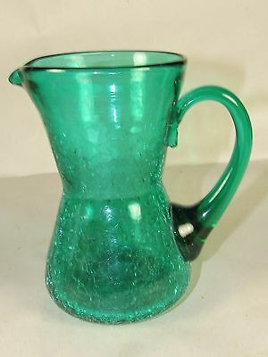 Mid-Century Modern Rainbow Art Glass Green Crackle Ewer-Pitcher,Pontil Bottom 5""