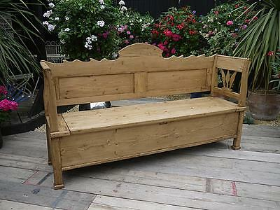 Lovely! Old Antique Victorian Pine Hungarian/monks Box Bench/settle/pew/storage