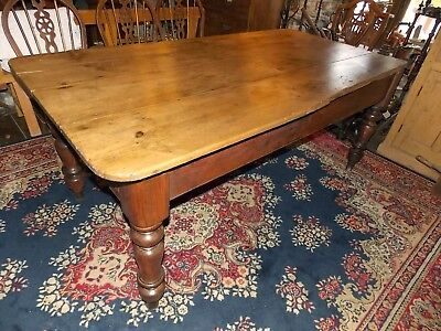 Antique Victorian pine SCRUB TOP TABLE 6ft drawer rustic kitchen dining seats 8