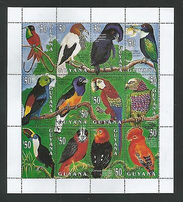 Guyana 1993 Birds sheetlet of 12 stamps unmounted mint