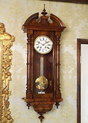 Antique spring driven Vienna regulator wall clock by Lenzkirch. Burl Burr walnut