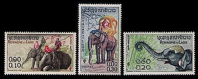 Laos 1958 Elephanps #41-43 Very Fine Mnh, Nice Set Of 3 Stamps Engraved (1255)