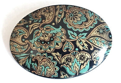 Vintage 1960s 60s paisley print floral green black oval brooch - West Germany