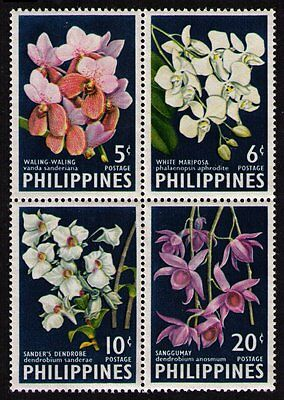 "PHILIPPINES 1962 FLOWERS ""ORCHIDS""  853a BLK OF 4 SE-TENANT CPL SET MNH (1289)"