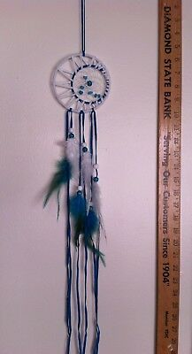"Cherokee Handmade 29"" Dream Catcher Real Turquoise Nuggets, Wood Beads, Feathers"
