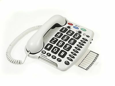 Geemarc Amplipower 40 Extra Loud Telephone Big Button Corded White Hearing Aid