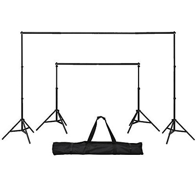 GTAPhotoStudio 8ft (H)x 10ft (W) Telescopic Backdrop Background Stand Support Ki