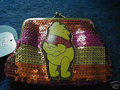 Disney Store Exclusive Winnie The Pooh Sequinned Purse Brand New