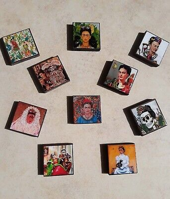 Wood Magnets ,frida Kahlo ,day Of The Death,wholesale Set Of 10 Square Magnets