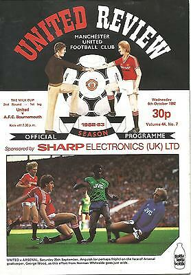 Manchester United v Bournemouth - League Cup - 6/10/1982 - Football Programme