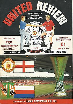 Football Programme - Manchester United v Torpero Moskow - UEFA Cup - 16/9/1992
