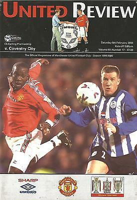 Football Programme - Manchester United v Coventry City - Premiership - 5/2/2000