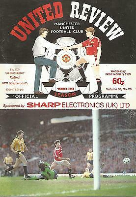 Manchester United v Bournemouth - FA Cup Replay - 22/2/1989 - Football Programme