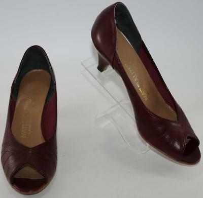 32b5381e2ad Naturalizer Women s Red Burgundy Leather Open Toe Pump Heels Size 7.5 N  Shoes