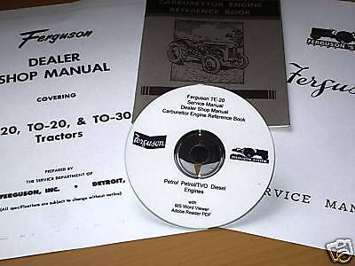FERGUSON TE20 T20  FULL WORKSHOP MANUAL + OWNERS & SERVICE  HANDBOOKS CD Disk