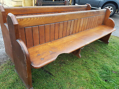 "Reclaimed Original Welsh Church Pine Pew Seat Chapel Settles 7' feet 7"" inches"