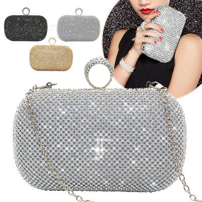 Womens Shiny Shimmering Diamante Evening Clutch Bag Purse Party Prom Wedding Bag