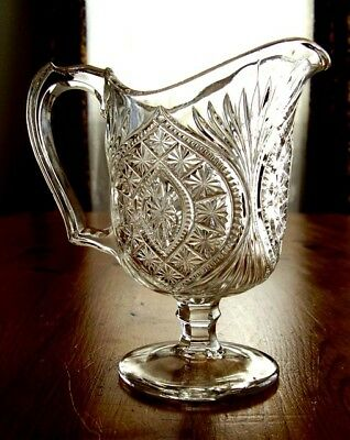 Antique 1880's EAPG Cream Pitcher BUCKLE with STAR aka ORIENT Pedestal Creamer