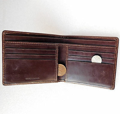 Vintage bridle leather wallet brown Good quality but large mark on front