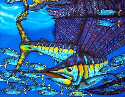 Jean-Baptiste Original Batik Silk Painting Of A Sailfish