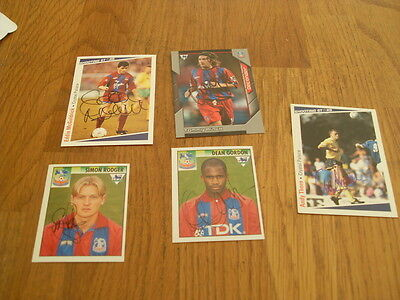 Crystal Palace 5 Signed Trade Cards/stickers Pack 1