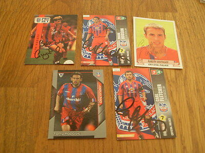Crystal Palace 5 Signed Trade Cards/stickers Pack 7