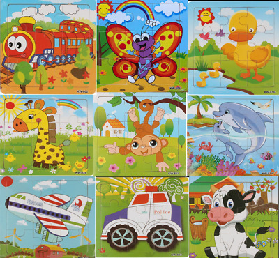 Kids Childrens Mini Learning Wooden Puzzles Jigsaw Educational Toy Uk Seller