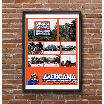 Americana Amusement Park Tribute Poster - Middletown Ohio Roller Coaster