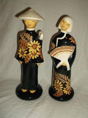 """Pair Vtg Hedi Schoop Hollywood Ca Pottery Asian Man Woman Couple Figurines 12"""""""