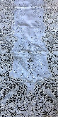 Antique Linen Lace Runner Italian Venice Wedding Bridal Table Scarf Tablecloth