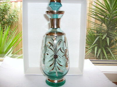 Vintage Teal with Silver Overlay Decanter