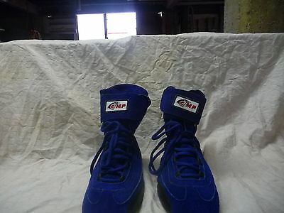 """NEW """"GMP"""" BLUE SUEDE RACING  BOOTS size 40"""