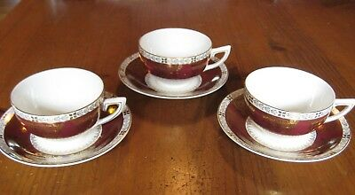 3 Vintage Crown Ducal Tea Cups And Saucers Burgundy And Gold