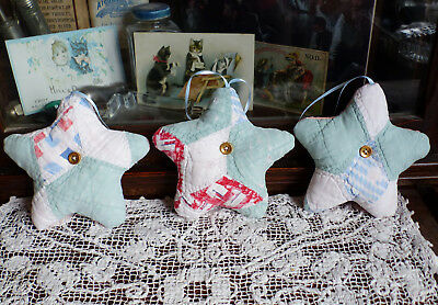 Antique Quilt Stars Christmas Ornaments with organic lavender 3