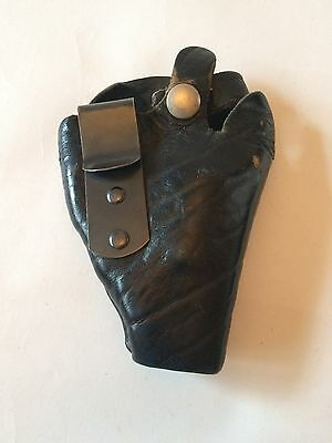Black Leather Police Gun Revolver Holster Front Metal Clip NYPD OBSOLETE