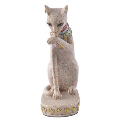 Ancient Egypt Egyptian Mau Cat Statue Hand Carved Sculpture Figurine Decor