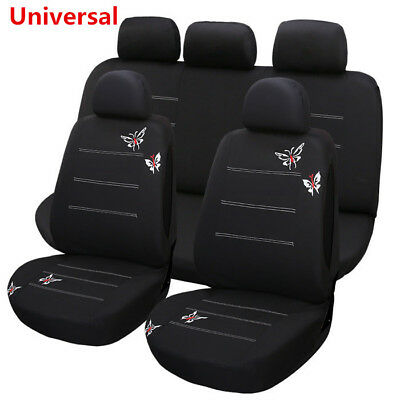11Pcs Blk Butterfly Embroidered Fabric Car Seat Covers Full Set Auto Accessories