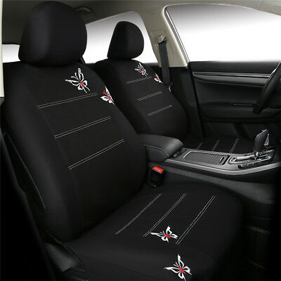 Car 11 Pcs Butterfly Embroidery Seat Cover Set Universal Fit Most Car Interior