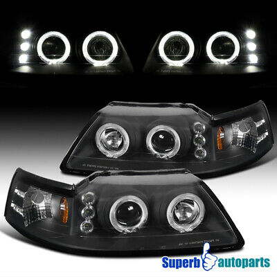1999-2004 Ford Mustang Dual Halo Projector Headlights Black Head Lamps Pair