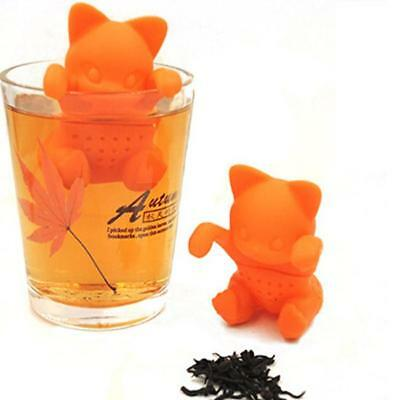 Cute Cat Tea Infuser Silicone Loose Leaf Strainer Herbal Filter Novelty Gift LJ