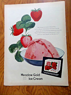 1952 Meadow Gold Ice Cream Ad Strawberry