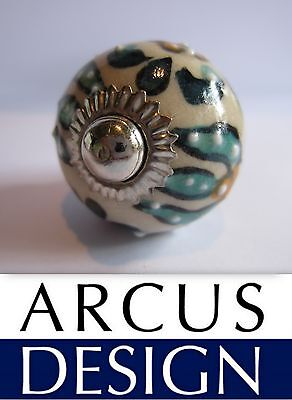 Small Hand Painted Ceramic Knob Turquoise White Emboss Flowers Cabinet Handle