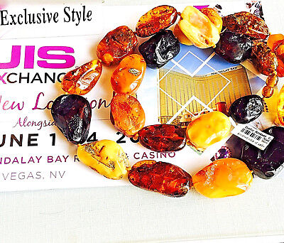 100% Genuine Vintage Russian Baltic Amber Beads Necklace Butterscotch Egg Yolk