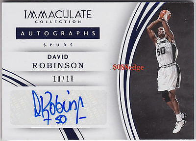 2015-16 Immaculate Auto: David Robinson #10/10 Autograph Spurs Nba Top 50 - 1/1