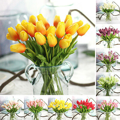 5x Beauty False Tulip REAL TOUCH PU Fake Flowers BOUQUET Home Wedding Decor New